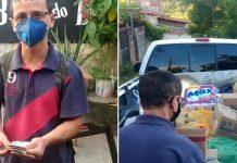 Imagem de vendedor de amendoim recebendo dinheiro e alimentos
