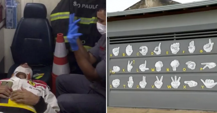 Bombeiro que conversou em Libras com vítima de acidente pinta casa com alfabeto de sinais 1