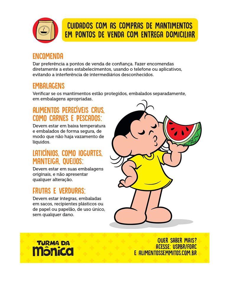 Turma da Mônica magali cartilha dicas sobre alimentos tempos coronavírus