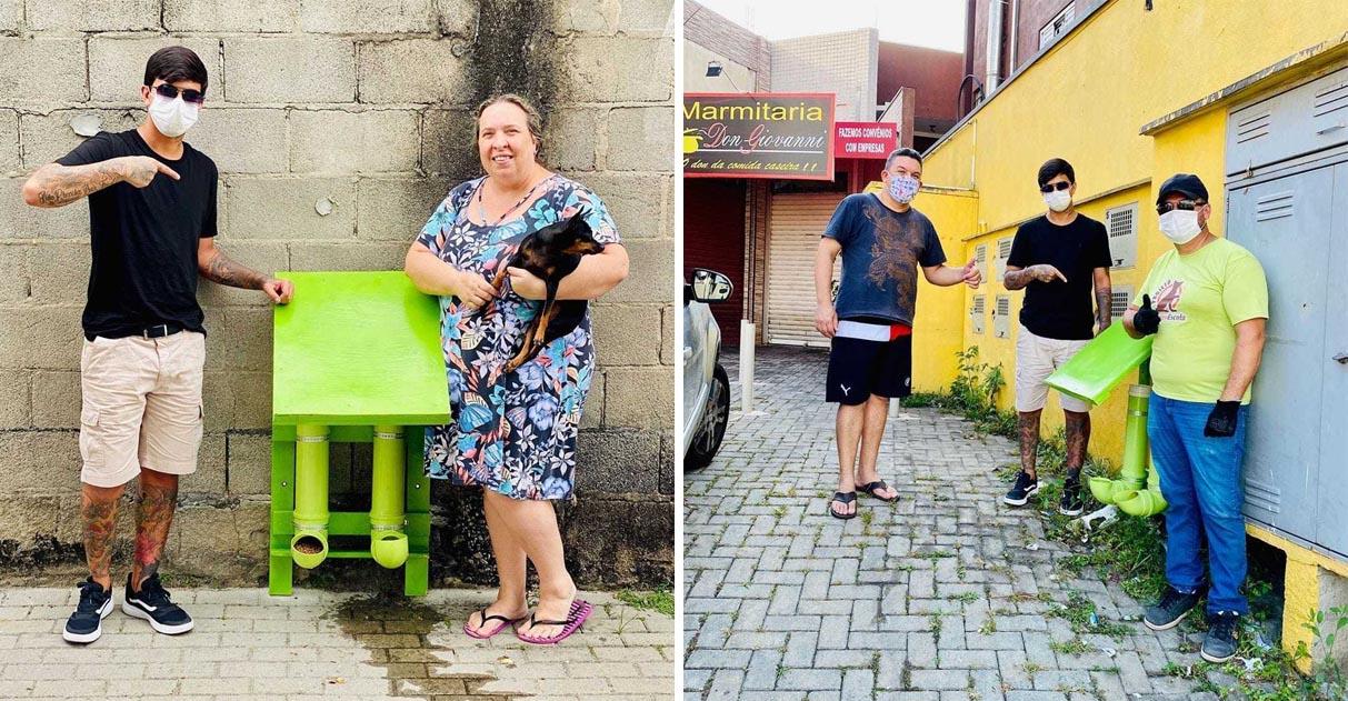 Jovem instala comedouros e bebedouros para animais de rua sobreviverem à quarentena 1