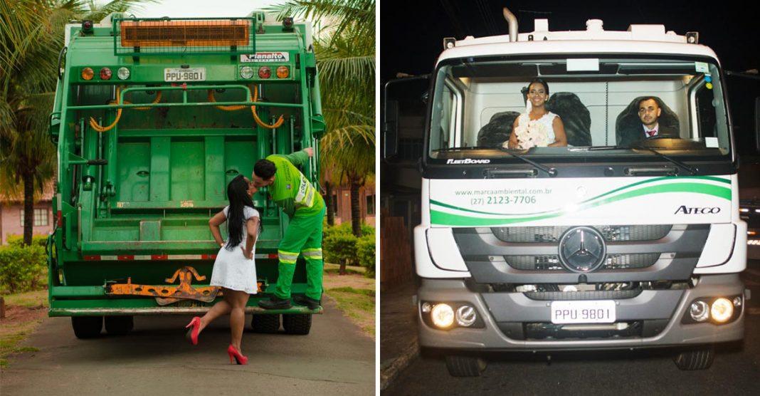 noiva e coletor de lixo ensaio pré-casamento com caminhão de lixo
