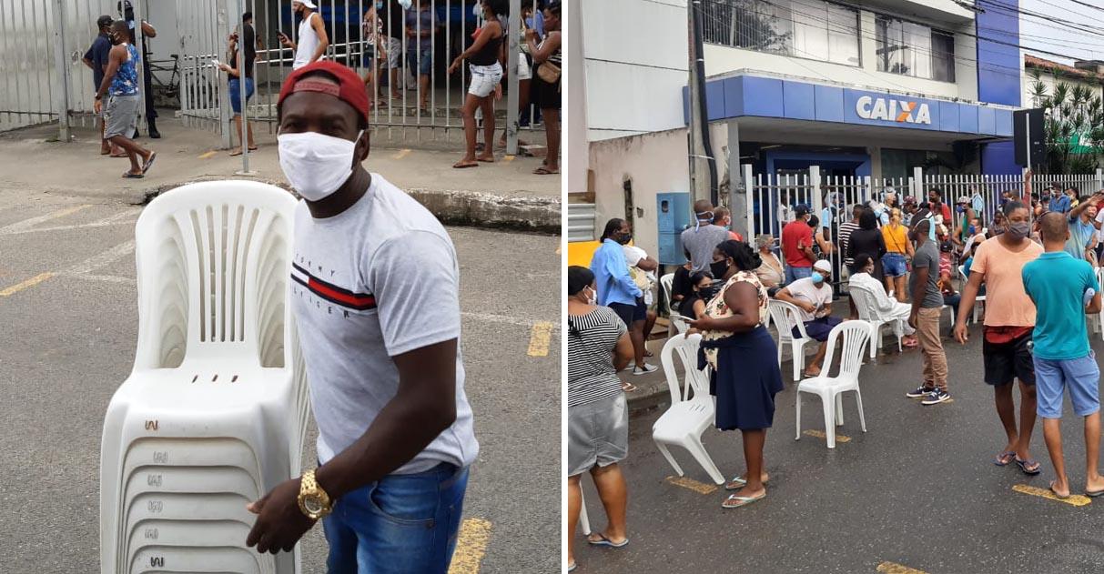 homem carrega cadeiras emprestar pessoas fila caixa salvador