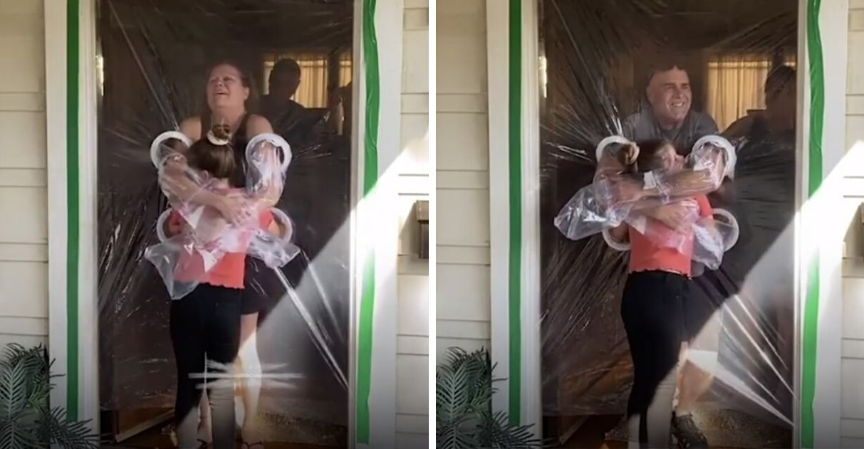 Menina de 10 anos cria 'Cortina do Abraço' para poder abraçar seus avós 1