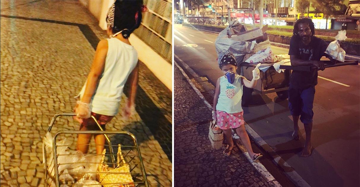 Criança segue exemplo dos pais e distribui comida para moradores de rua em MG 2