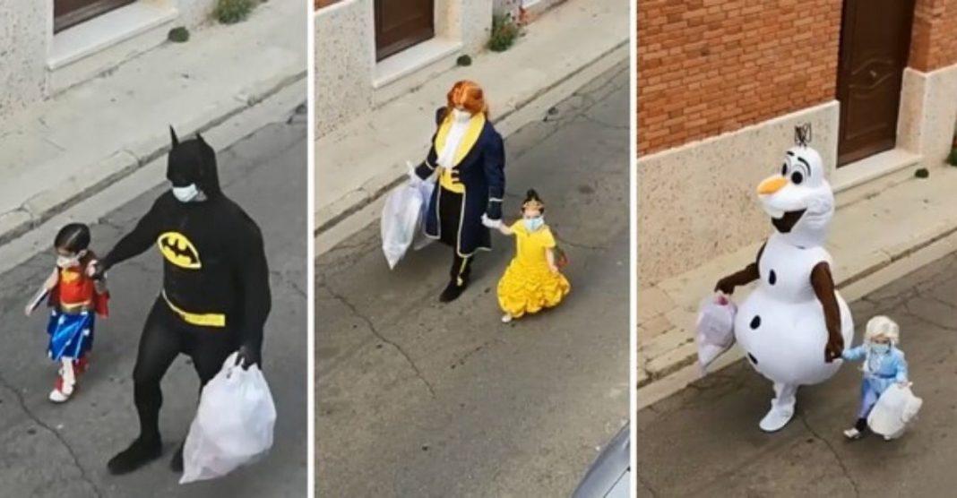 pai e filha fantasias para levar o lixo