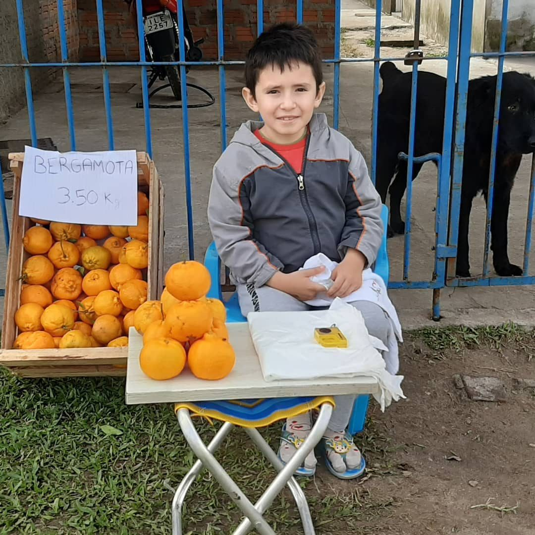 menino sentado cadeira ao lado caixote tangerinas à venda