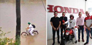 Imagem de auxiliar de enfermagem pedalando no meio de enchente e ao lado ela em cima de moto junto com funcionários de concessionária