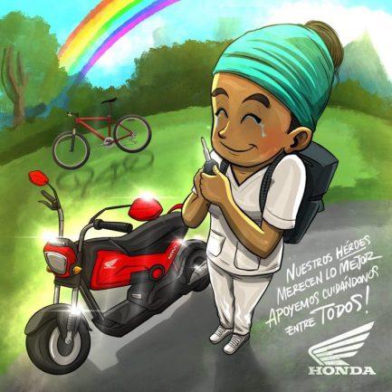 Imagem de arte e caricatura feita pela Honda sobre Auxiliar de Enfermagem em moto e bicicleta