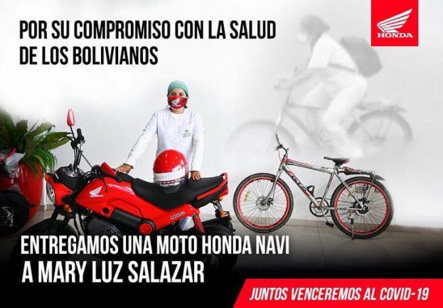 Imagem de arte e propaganda feita pela Honda sobre Auxiliar de Enfermagem em moto e bicicleta