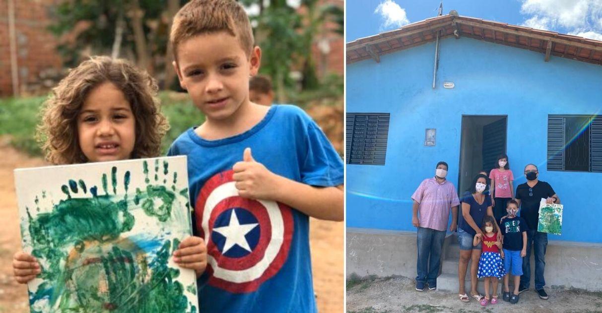 """Menino que leiloou """"obra de arte"""" da irmã ganha casa nova após vídeo comover internautas 1"""
