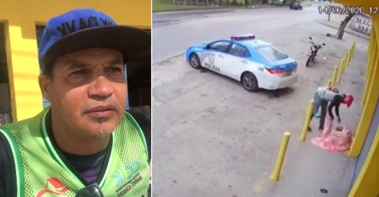 motoqueiro que foi flagrado cuidando de moradora de rua e a direita o video que viralizou
