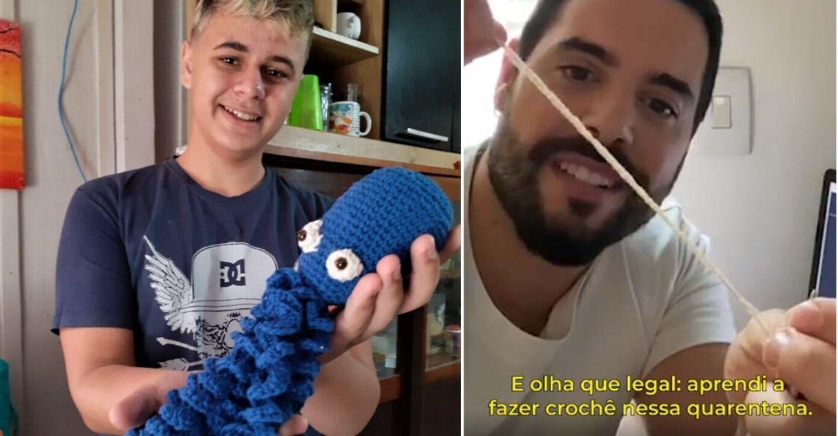 Menino que faz crochê para ajudar mãe dá aula para o ator Pedro Carvalho que fica impressionado; assista 1