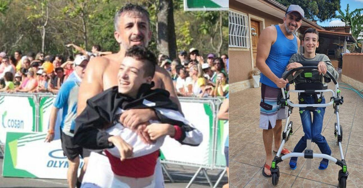 Pai e filho que participam de triatlo juntos conseguem andador com ajuda de vaquinha 2