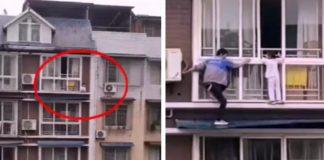 Imagem de criança solta em janela de prédio e homem escalando prédio para salvá-la