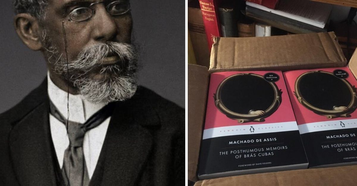 Imagem de Machado de Assis e ao lado foto dos livros