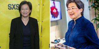 Mulher sorrindo pra foto de terno preto em fundo amarelo e ao lado com computador na mão mostrando tecnologia