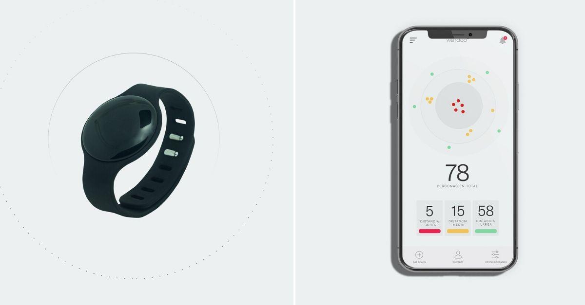 Imagem de pulseira e tela de celular com aplicativo