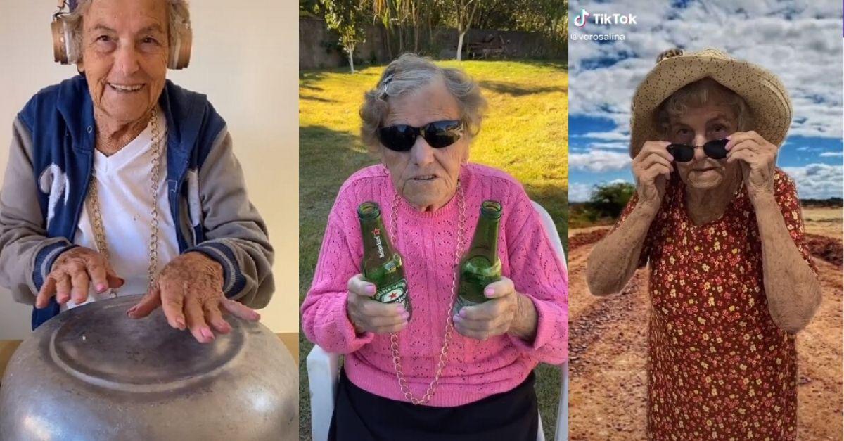 Imagem de idosa brincando com panela, dançando com neto e dançando numa paisagem