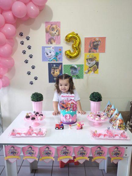 menina festa aniversário tema patrulha canina