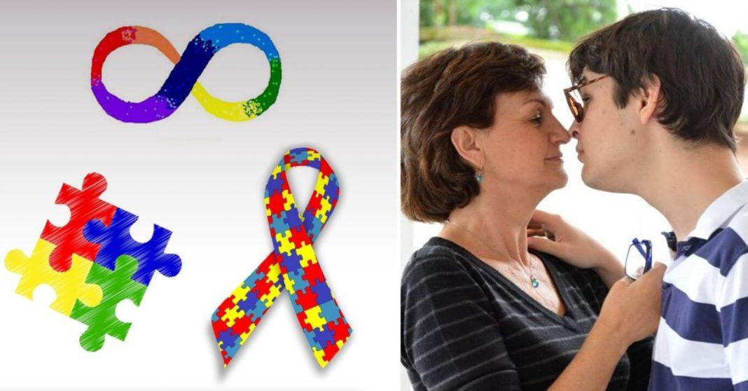 Símbolos do autismo e mãe beijando filho autista