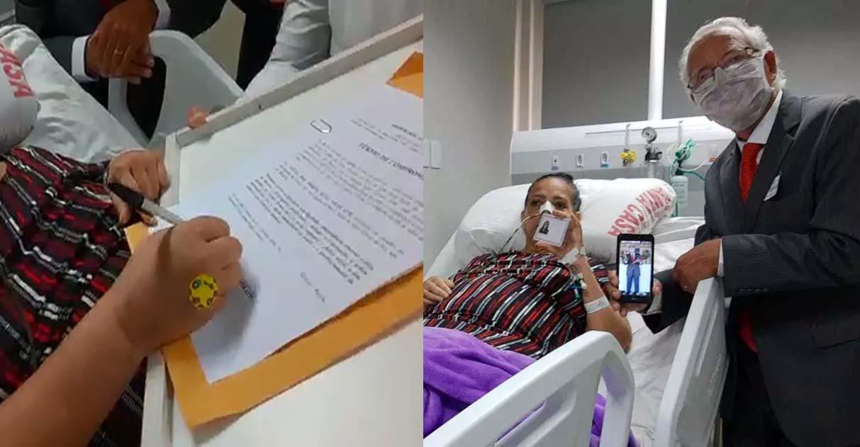 Lutando contra o câncer, Lúcia recebe a tão sonhada carteira da OAB e se torna advogada no hospital 1