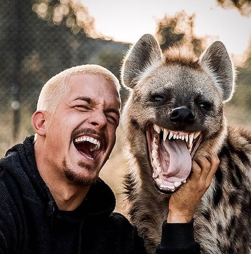 dean dando risada com hiena