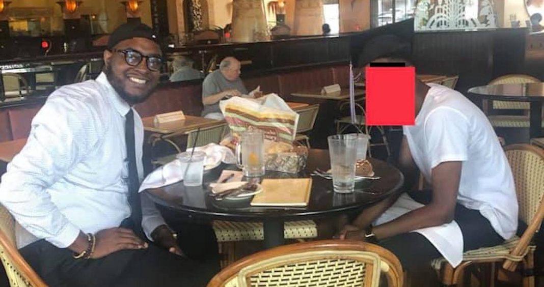 professor Dominique Moore e aluno jantando