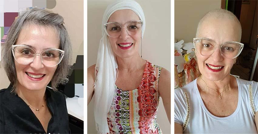 Fases do cabelo da diretora com cancer Denise Romanzini da Silva.