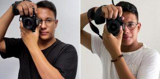 Gabriel e Thomaz com câmera fotográfica