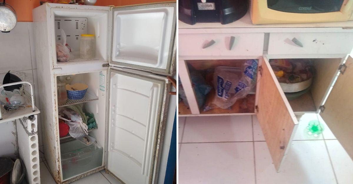 geladeira armário família humilde vazios