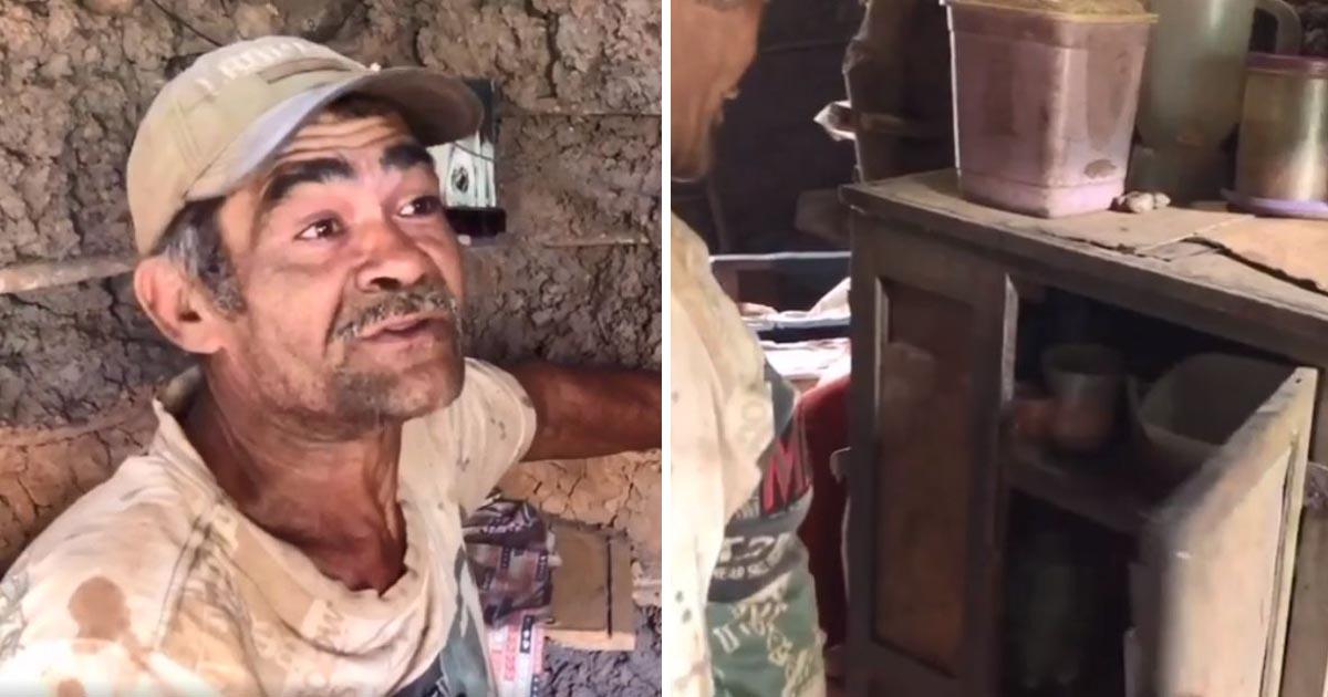 Internautas criam vaquinha para idoso que mora há anos isolado em casa de taipa só com fubá e sal para comer 2