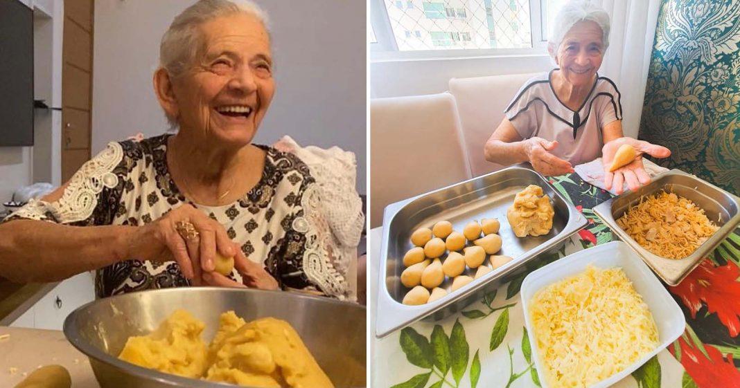 idosa preparando coxinhas