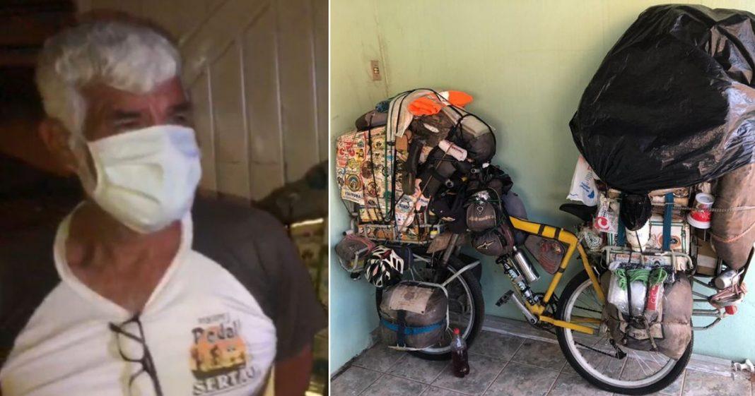 idoso peruano ao lado bicicleta