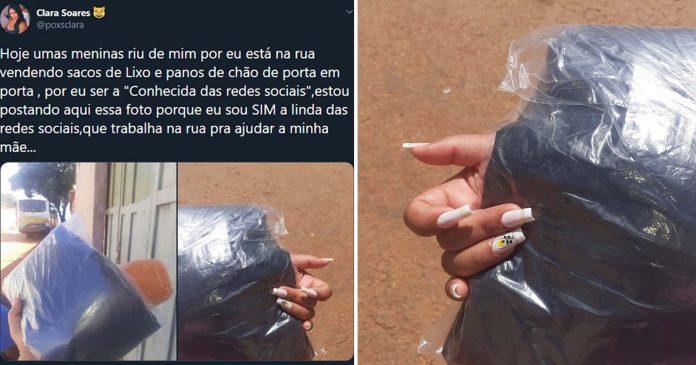 Jovem 'zombada' por vender sacos de lixo para ajudar a mãe não abaixa a cabeça 1