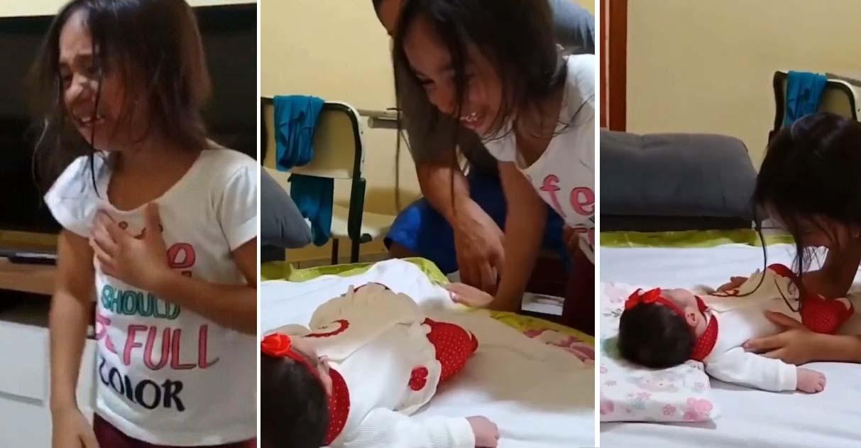 A reação desta menina conhecendo a irmã recém nascida faz qualquer um se emocionar 4