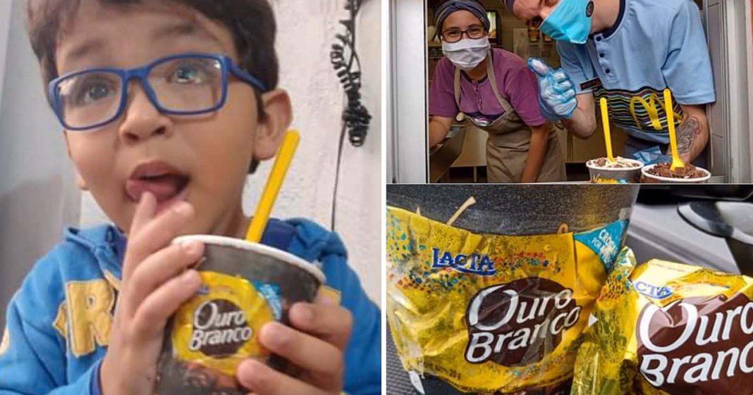 menino tomando sorvete mcflurry ouro branco