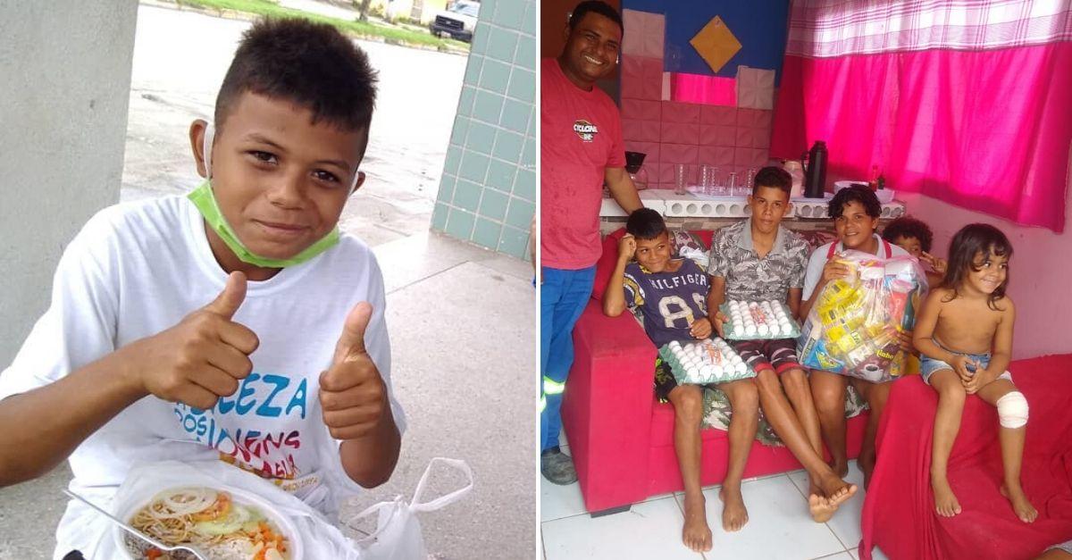 menino vende doces ajudar família comendo marmitex