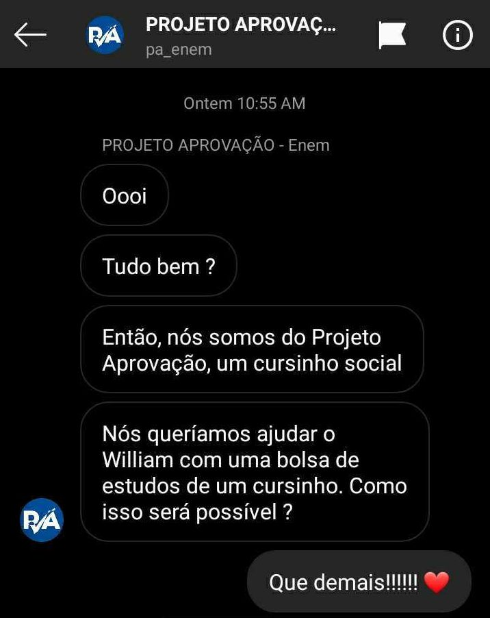 print de conversa pelo direct do instagram sobre a vaquinha do menino que usa wifi de açougue