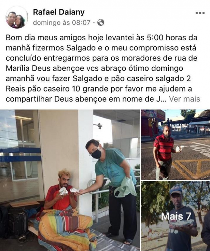 homem distribui salgados moradores rua