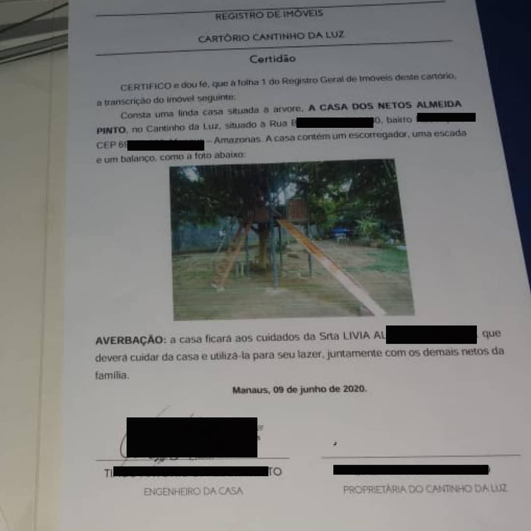 documento registro casinha na árvore em cartório