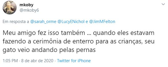 Tweet cerimônia de enterro do gato
