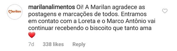 Tweet da Marilan sobre o biscoito do menino autista