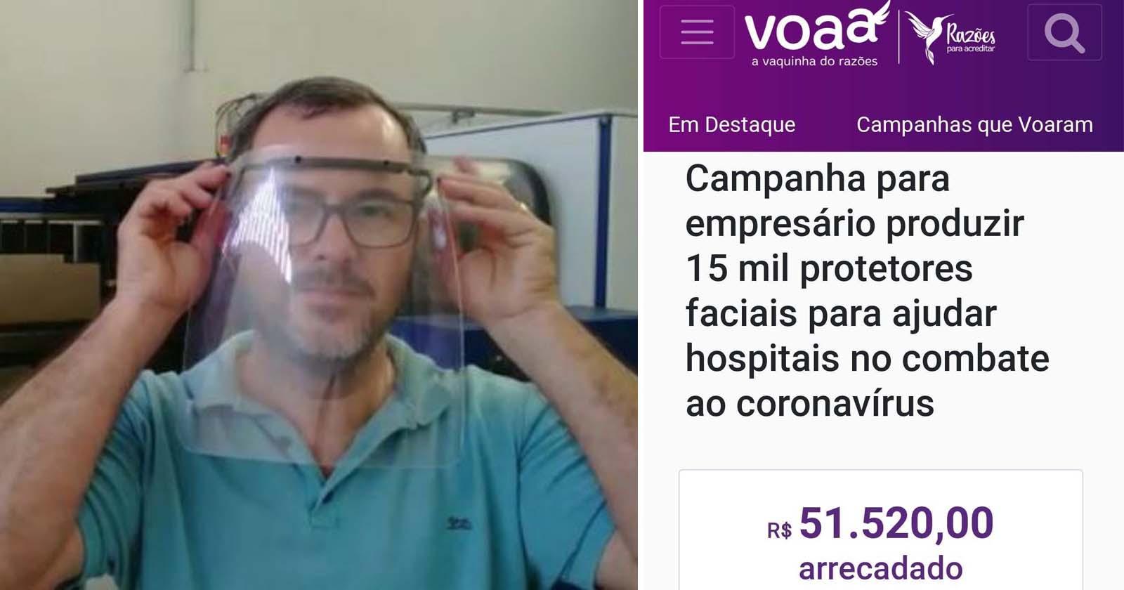 Com ajuda de vaquinha, empresário irá doar 15 mil protetores faciais para hospitais e unidades de saúde