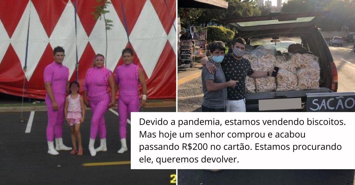 Família circense que vende biscoitos na rua mobiliza cidade para devolver dinheiro a idoso 2