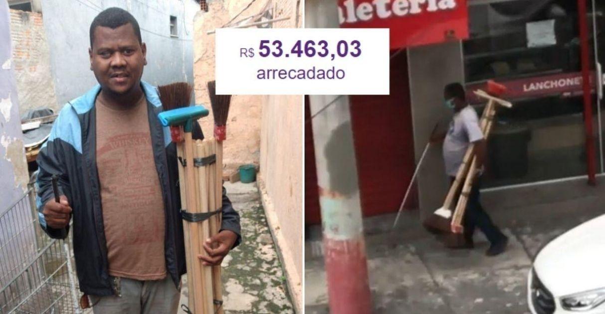 Internautas se comovem com homem cego vendendo vassouras na rua e vaquinha criada bate meta! 1