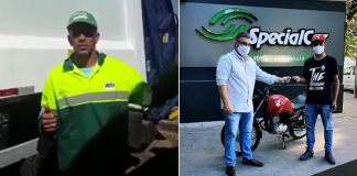 empresário doando moto gari