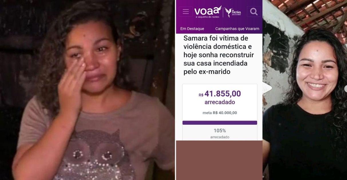 Com apoio de internautas, vendedora recebe R$41 mil em doações para reconstruir sua casa incendiada pelo ex-marido 1