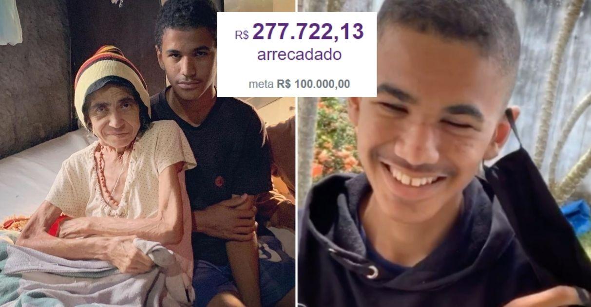Em apenas 24h, vaquinha para menino que cuida sozinho da mãe doente arrecada mais de R$277 mil 1