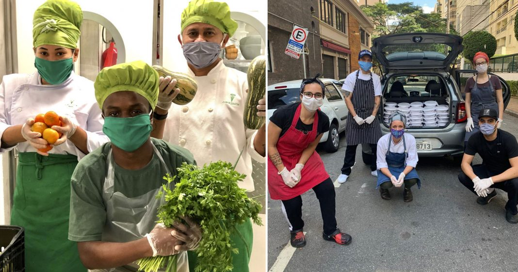 chefs cozinhando segurando legumes verduras