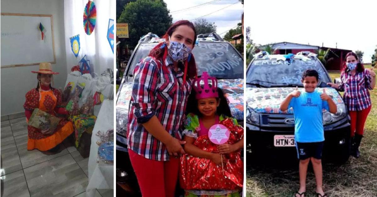 Professora decora carro e viaja 80km para entregar kits de São João a cada aluno (MS) 1